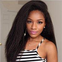 african american glueless peruklar toptan satış-Bliss Peruk İtalyan Yaki peruk Afro-amerikan Tam Dantel İnsan Saç Peruk En Iyi Tutkalsız Brezilyalı Sapıkça Düz Dantel Ön Peruk
