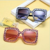 Wholesale Diamond Rhinestones - Big diamond Sun Glasses Square colored Shades Women Oversized Sunglasses Retro Top Crystal Trend Rhinestone ljje9