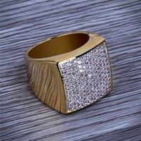 venda de anel de diamante banhado a ouro venda por atacado-Hiphop CZ Anéis Para Mens Full Diamond Quadrado Hip Hop Anel Banhado A Ouro Jóias Venda Quente