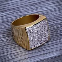 ingrosso vendita di anello di diamanti placcato oro-Hiphop CZ Anelli per uomo Full Diamond Square Hip Hop Anello gioielli in oro placcato vendita calda