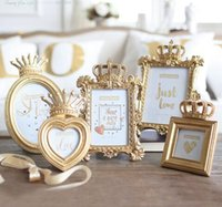 Wholesale resin photo frame picture - 1 Piece 5 Model Luxury Baroque Style Gold Crown Decor Creative Resin Picture Desktop Frame Photo Frame Gift for Friend