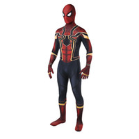 tam gövde spandex lycra takım elbise toptan satış-Sıcak Satış Yüksek Kalite Mens yetişkin Cadılar Bayramı Demir Örümcek Adam kostüm Lycra zentai SuperHero Tema Kostüm cosplay Tam Vücut Suit