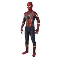 ingrosso temi di qualità-Vendita calda di alta qualità Mens adulto Halloween Iron Spiderman costume Lycra zentai Superero Tema Costume cosplay completo Suit Suit