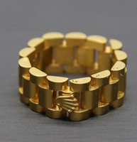 Wholesale 10mm Top Quality Stainless Steel K Gold Plated Link Ring Hiphop Mens Watchband Style President Crown Band Ring Size