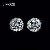 pernos prisioneros del diamante suizo al por mayor-UMODE Multi Prongs 8mm 2ct de calidad superior Swiss CZ Diamond Stud Earring UE0013 en Pendientes de botón.