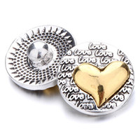 Wholesale Vintage Heart Buttons - 2018 New Snap Jewelry Gold Love Vintage Metal 18mm Snap Buttons for 18MM snap Bracelet bangles