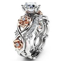 Wholesale flower wedding rings - Silver Plated 2pcs Set Crystal Wedding Rings Lovers Gifts Rhinestone Rings for Women Rose Flower Ring SJ