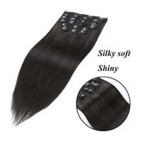 clips para el pelo humano al por mayor-Clip de tejido de pelo de seda malasio clip en extensiones de cabello Clip de pelo humano real ins ShowJarlly 20 pulgadas 180g set 1B negro