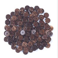 Wholesale wholesale flat wood beads - 1Strand(approx 105pcs) 11mm Natural Woods Coconut Shell Spacer Beads Flat Round Beads fit DIY Bracelet Jewelry Making Z503