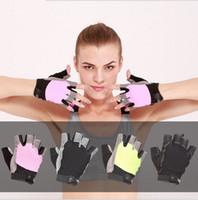Wholesale pink camping gear - Sports Fitness Gloves Men and Women Half Finger Gloves Protective Wrist Breathable Non-slip Riding Gear Sports Products