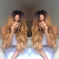 Wholesale Two Tone Blonde Hairstyles - Brazilian Ombre Body Wavy Glueless Full Lace Human Hair Wigs 1B 27 Honey Blonde Two Tone Lace Front Wigs 130 Density Bleached Knots