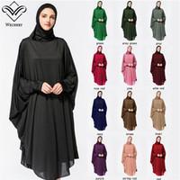 strickjacke kleid großhandel-Abaya Hijab Kleid lange feste Roben für Frauen islamische türkische Kleid Kopftuch muslimische Anbetung Gebet Kleidungsstück Fledermaus Anzug mit Hijab Roben