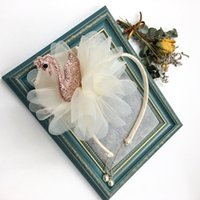 Wholesale pendants lovely pearl for sale - Group buy fashion Girls swan Hair sticks Lovely Swan Headwear with big chiffon flower Kids Princess hair Accessories Children pearl pendant Headband