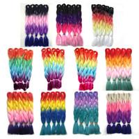pembe ombre saç uzantıları toptan satış-Kanekalon Dört Ton Örgü Saç Uzantıları Mor Pembe Kırmızı Mavi Sarışın Ombre Jumbo Tığ Büküm Örgüler Saç 24 inç 100g