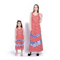 Wholesale mother daughter denim for sale - Group buy 2018 Mom and Daughter Outfits Red and White Striped Denim Splice Long Dress Summer Mother Daughter Matching Dresses Girls Dress