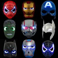 Wholesale cosplay heroes online - LED Captain America Masks Styles Glowing Lighting Spiderman Hero Figure Cosplay Costume Party Mask OOA5455