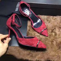 spitze zehe stilettos großhandel-Frauen-reizvolle Entwerfer-neue Luxuxhohe absätze Mädchen-rote Stilett-Ferse-einzelne Schuhe-Frauen wies Zehen Eisenringspitzen-Kleid-Schuh-freies Verschiffen an