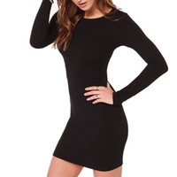 Wholesale tight fitted black dresses - Eur Sexy Women Sheath Dress Women Crew Neck Long Sleeves Tight Slim Fit Dress Cotton Casual Mini Dress