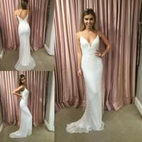 Wholesale unique robes online - 2018 Newest V Neck Mermaid Wedding Dresses Spaghetti Strap Lace Beaded Zipper Back Bridal Gowns Unique Robe De Mariage Bridal Wedding Gowns