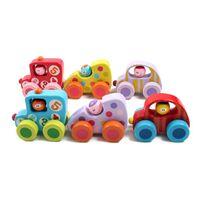 Wholesale cute small newborn babies - Small Cute Car Toys Children Baby Education Toys Mini Cartoon Wooden Car Model Birthday Gift For Newborn Cheap