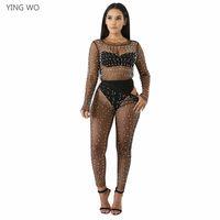 158185dfb5 Nero / Bianco See Through Mesh Set di due pezzi Sexy Nightout Clubwear  Hollow Out Perle Perle Design Pantaloni Suit senza biancheria intima