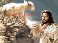 Wholesale painting jesus christ - Mosaic home decoration Jesus Christ sheep diy diamond painting cross stitch kit rhinestone full round&square diamond embroidery AA0114