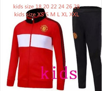 Wholesale United Kids - KIDS 2017 2018 Man Football jacket POGBA united tracksuit 17 18 LUKAKU de foot UNITED MKHITARYAN KIDS jacket Training suit.