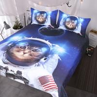 engraçado galáxia venda por atacado-Engraçado Espaço Gato Cama Set 3 Peça Astronauta Colchas Pet Adolescentes Crianças Azul Galaxy Cama Estrela Universo Capa de Edredão Set
