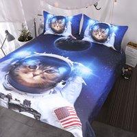 yorgan örtüsü mavi set toptan satış-Komik Uzay Kedi Yatak Seti 3 Parça Astronot Pet Yatak Örtüsü Gençler Çocuklar Mavi Galaxy Yatak Yıldız Evren Nevresim Set