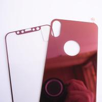 iphone gafas de colores templados al por mayor-Para iPhone X Glass iPhone Xs Glass 5.8 Efecto espejo Protector de pantalla de vidrio templado Colorido frontal y posterior 2 piezas Buena calidad