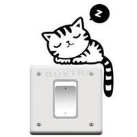 Wholesale Cute Light Switch Stickers - 2017 New Beautiful Home Decoration Wall Stricker Cute Cartoon Sleeping Cat Light Switch Stickers Wallpapers