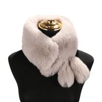 зимние сплошные цветные шарфы оптовых-Fashion Women Scarf Stole Solid Color Scarf Faux Fur shawls Cute Tails Keep Warm Scarves Winter Gifts Bandana Poncho