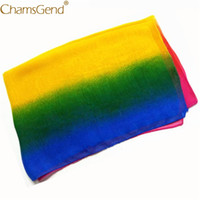 платки для женщин оптовых-Free Shipping Hot Sale Rainbow Chiffon Scarf Women Fashion Gradient Long Shawl Wraps Scarves 80712