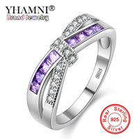 Wholesale 925 Silver Jewelry Blue Ring - YHAMNI Silver Rings for Women Engagement Wedding Ring Purple Pink Blue Diamond Rings Pure 925 Sterling Silver Fashion Jewelry Q-J004