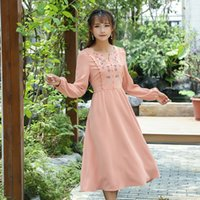 Wholesale Women S Slim Waist Dress - Autumn spring dress for women Slim High waist Casual Floral Embroidery V neck dress Orange color