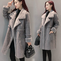 Wholesale Lamb Leather Coats Women - Wholesale-2017 Winter Women Faux Lambs Wool Outerwear Female Long Thick Shearling Coats Double Breasted Faux Suede Leather Jackets H161