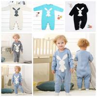 onesie lindo de los niños al por mayor-5 colores Baby Romper INS Knit Rabbit Jumpsuit niños de manga larga mamelucos Niño pequeño Onesies diseñador ropa para niños CCA10551 6pcs