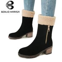 venta de zapatos anchos al por mayor-BONJOMARISA 2018 Venta Caliente de Invierno Cálido Plataforma de Las Mujeres a media pierna Botas de Nieve Cremallera Decorar Zapatos de Tacón Alto Ancho Mujer 34-43