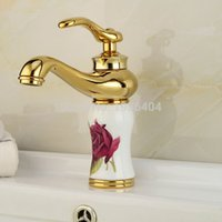 Wholesale porcelain paint sink - Fashion Solid Brass Grilled White Painted Flower Porcelain Basin Mixer Taps Deck Mounted Sink Faucet M1003