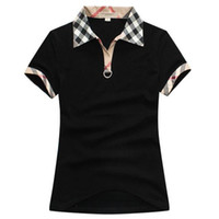 Wholesale Red White Plaid Shirt - 2018 Fashion women summer 100% cottone t-shirts short sleeve 4 colours black white red Khaki