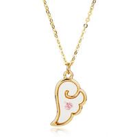 sakura zubehör großhandel-Dongsheng Mode Halskette Emaille Engelsflügel Karte Captor Sakura Anhänger Halskette für Frauen Mädchen Party Jäten Zubehör-30