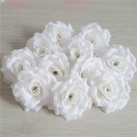 Wholesale best artificial flowers - 100Pcs Best Seller Flower Heads Artificial Silk Camellia Rose Fake Peony Flower Head 10cm For Wedding Party Home Decorative Rice White Rose