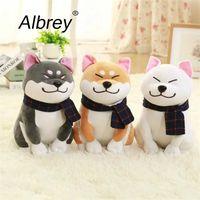 Wholesale Wholesale Valentine Stuff - Drop Shipping 25 45 cm Wear scarf Shiba Inu dog plush toy soft stuffed dog toy good valentines gifts for girlfriend