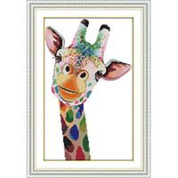 óleo, pintura, mar, azul, paisagem venda por atacado-A girafa lona dmc 11ct 14ct contados kits de ponto cruz chinesa diy handwork impresso ponto cruz para bordado home decor needlework