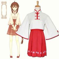 vocaloid miku cosplay vestido al por mayor-Tamaño asiático Japón Anime Vocaloid Hatsune Miku Cosplay Vestido de manga larga rojo cheongsam Conjunto completo