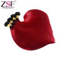trenzas de dos tonos al por mayor-Paquetes de Ombre rectos, cabello humano brasileño no procesado de venta caliente ZSF 100% paquetes de dos tonos de color 1B / Red Ombre trenzas de cabello