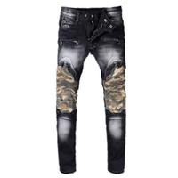 Wholesale xs micro - 2018 Men's Fashion High Quality balmain Joint Jeans Men's Classic Fashion Straight Micro Elastic Cotton 85% Jeans