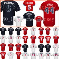 Wholesale baseball atlanta - Atlanta #5 Freddie Freeman jersey Men's 44 Hank Aaron 10 Chipper Jones Baseball jerseys Cheap wholesale Free Shipping