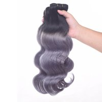 Wholesale virgin grey hair extensions resale online - Ombre Brazilian Human hair Body wave B Dark Grey Two Tone Hair Bundles Peruvian Brazilian Indian Hair Extensions