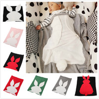 Wholesale crib quilt baby resale online - 70 cm Wool Knitting Blanket Lovely Rabbit Ear Tail Design Baby Blankets Breathable Soft Air Conditioning Quilt For Easter rz B